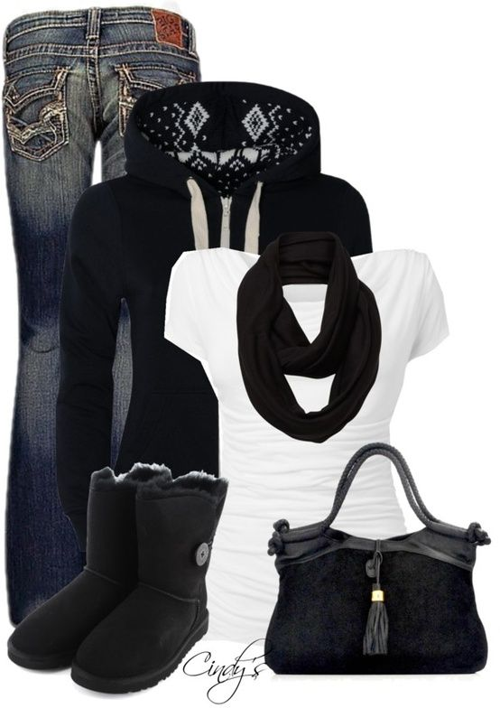 This outfit sure looks cozy with the UGG Bailey Button boot!