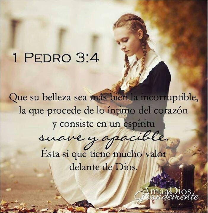 """1 Pedro 3.4 """"sino el interno, el del corazón, en el incorruptible ornato de un espíritu afable y apacible, que es de grande estima delante de Dios""""."""