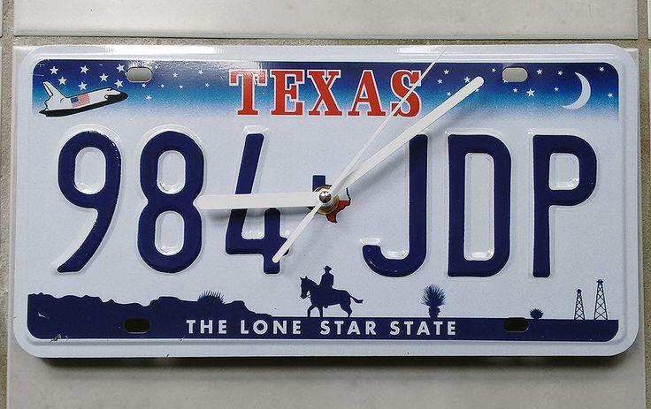 Horloge silencieuse plaque immatriculation américaine Texas : Décorations murales par recycraft