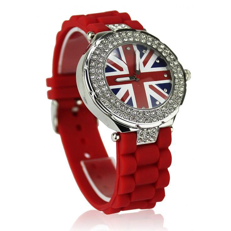 Červené hodinky s platovým řemínkem. Průměr 4 cm, hodinový strojek: Quartz. Střední velikost.