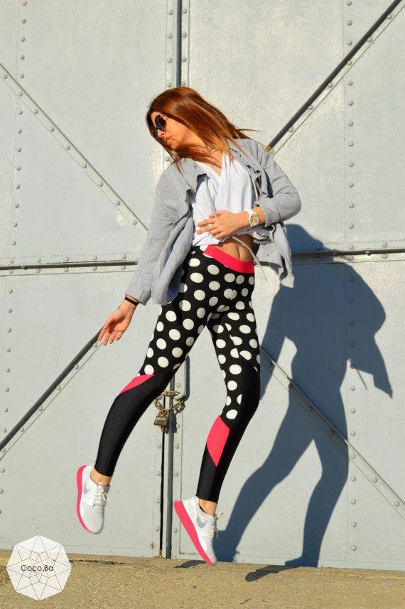 Polka Dot Leggings, Women Leggings, Printed Leggings, Black White Leggings, Workout Pants, Yoga Pants, Pin Up Clothing, Pilates Clothing