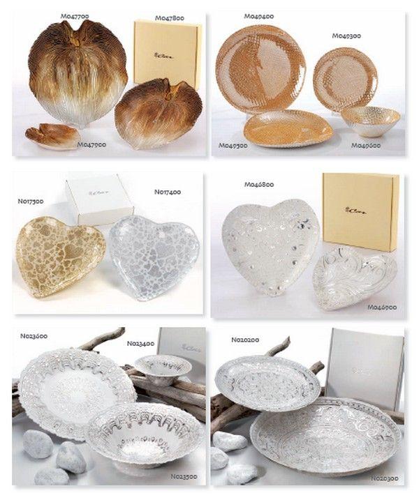 Piatti di vetro, forme e dimensioni assortite