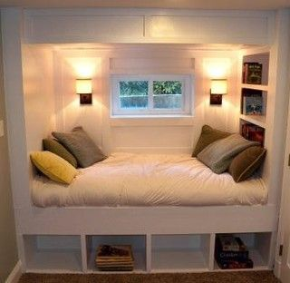 Bed nook but instead of cubbies put trundle bed underneath
