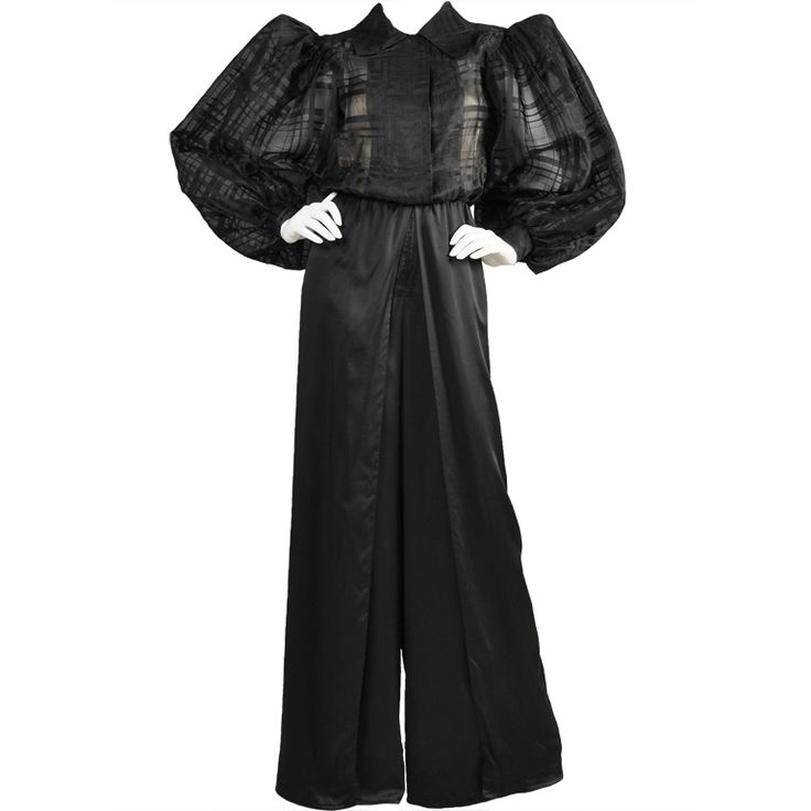 Yves Saint Laurent Haute Couture Palazzo Jumpsuit   From a collection of rare vintage suits, outfits and ensembles at https://www.1stdibs.com/fashion/clothing/suits-outfits-ensembles/