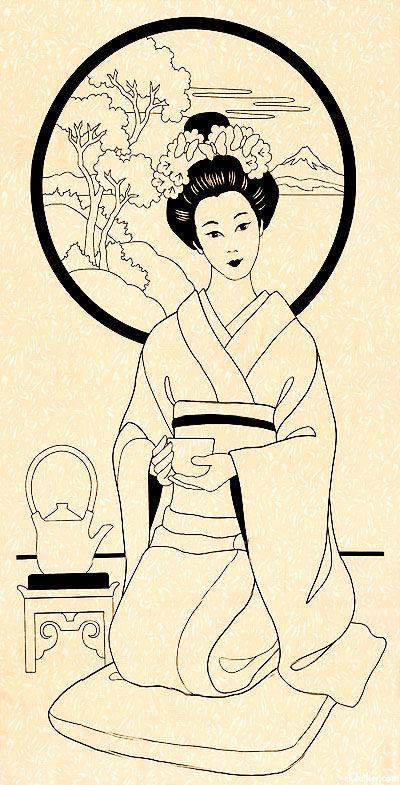 "ANGEIACR  Graceful Geishas - Tea Ceremony Geisha - Cream - 24"" x 44"" PANEL"