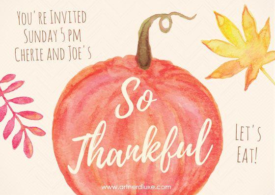 Thanksgiving invite created using https://www.canva.com/artnerdluxe. Personalize your own version with Canva. Artwork elements © ArtnerDluxe. www.artnerdluxe.com