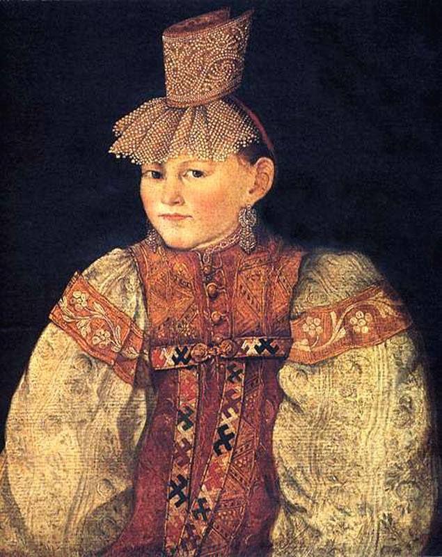 «Каблучок» - разновидность цилиндрического головного убора. В него прятали плотно скрученные волосы. Он дополнялся спереди ажурной, низко спускающейся на лоб сеткой из жемчуга .   «Портрет тверской крестьянки в повязке с жемчужной поднизью» 1830-е