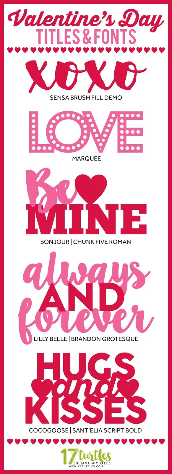 Valentine's Day Titles & Fonts by Juliana Michaels 17turtles