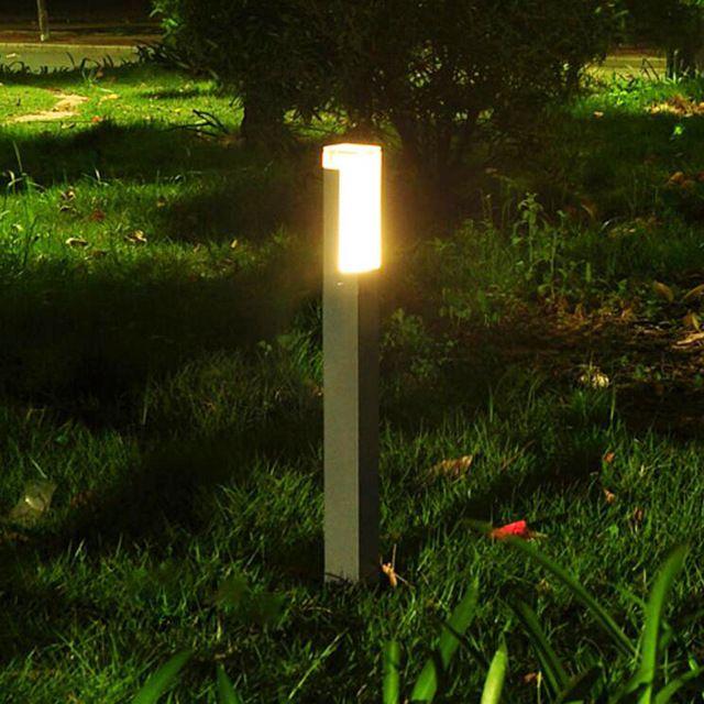 2 Pieces Lot Persegi Led Tiang Lampu Villa Taman Bollard Berdiri Cahaya Dipimpin Modern Yang Tahan A Outdoor Flood Lights Solar Lights Garden Solar Yard Lights