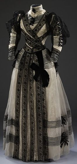 1889-1892 formal day dress, probably half-mourning, by designer Sara Mayer & A. Morhanger (Paris France). via The Victoria & Albert Museum.