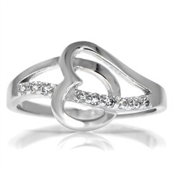 Beautiful Gisella us CZ Double Heart Commitment Ring