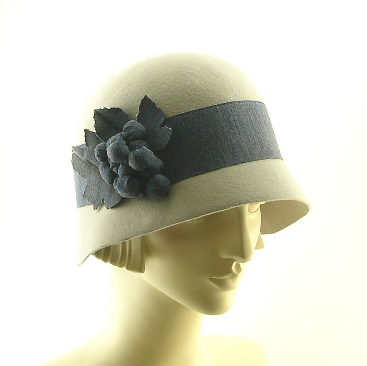 Gray Cloche Hat for Women - Downton Abbey Style Cloche Hat - Blue Ribbon Grapes and Leaves. $260.00, via Etsy.