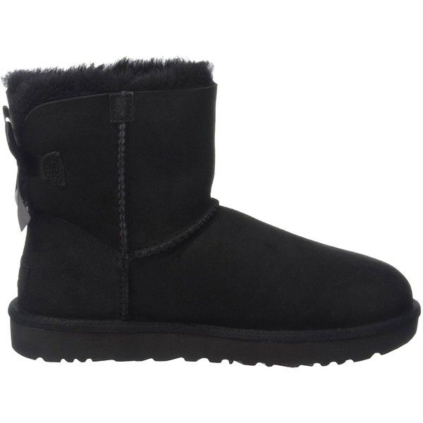 UGG Australia Women's Mini Bailey Boii Winter Boot ($150) ❤ liked on Polyvore featuring shoes, boots, winter boots, wide width winter boots, wide ankle boots, short boots and wide fit ankle boots