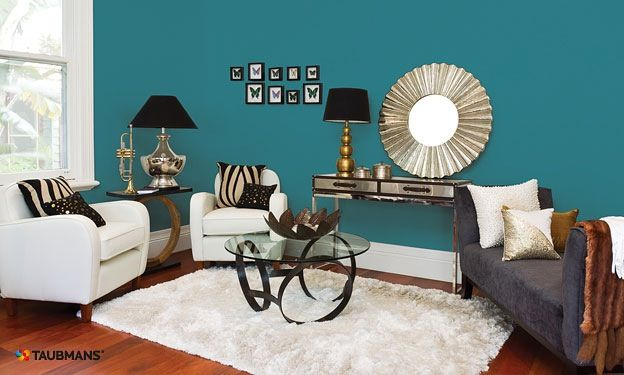 Best Teal Feature Wall Living Room Turquoise Family Room 400 x 300