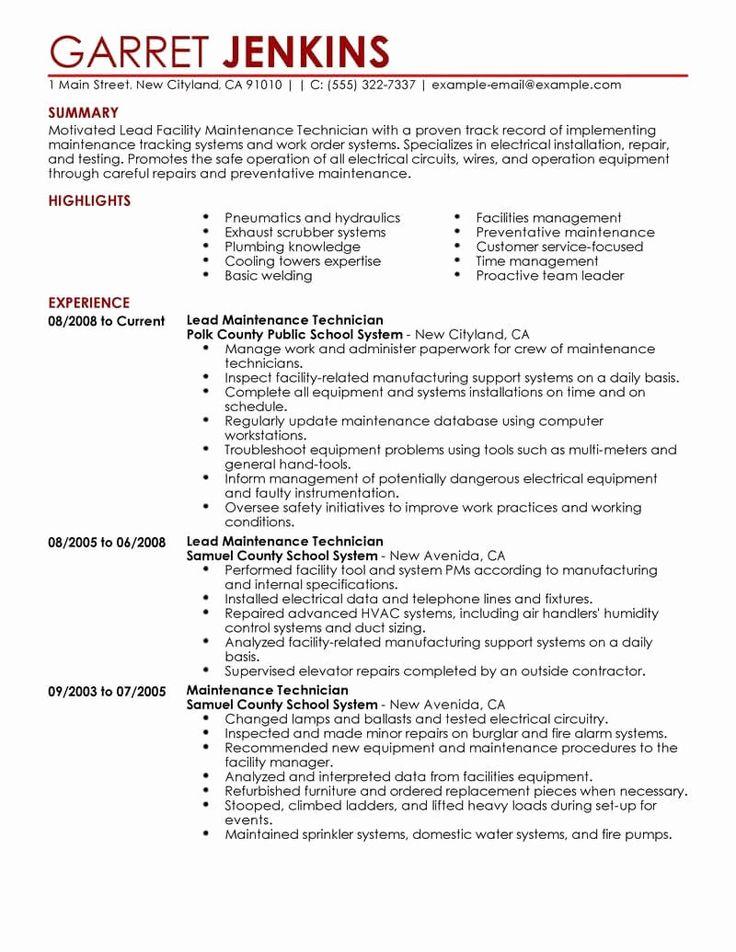 23 Maintenance Job Description Resume in 2020 Resume