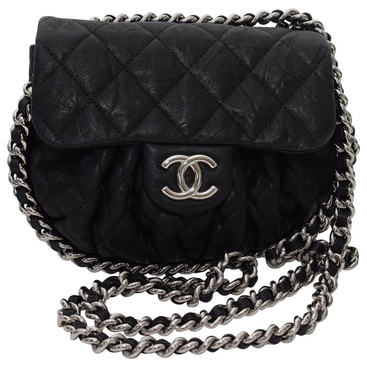 This is an authentic CHANEL Washed Lambskin Quilted small Chain Around Messenger