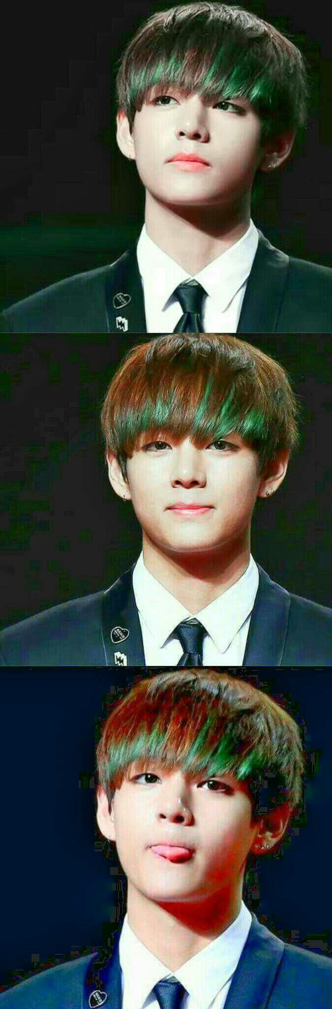 Es tan hermoso con ese flequillo verde