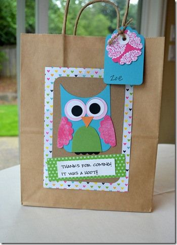 """I used the same tag line. Very cute! """"Thanks for coming! It was a hoot!"""""""