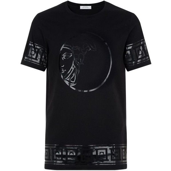 Versace Collection Medusa Head T-Shirt ($210) ❤ liked on Polyvore featuring men's fashion, men's clothing, men's shirts, men's t-shirts, versace mens t shirt, mens cotton shirts, mens cotton t shirts and versace mens shirt