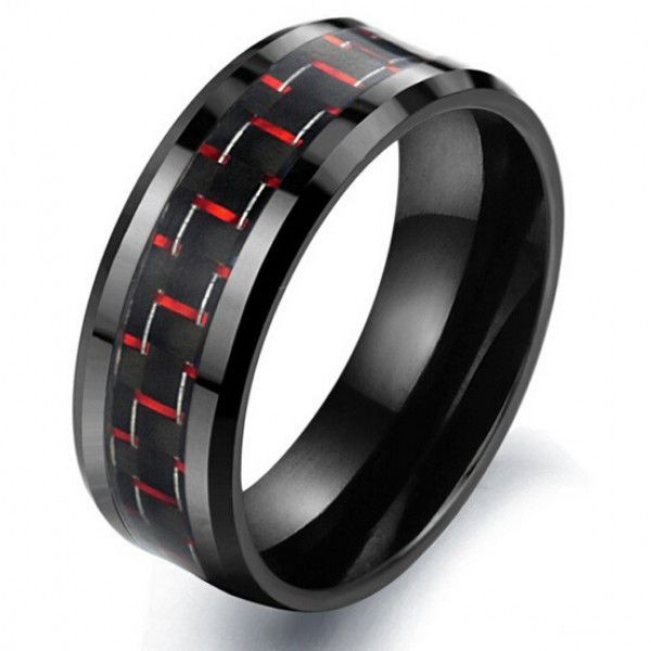 Personalized Fabulous Black&Red Men's Fashion Ring