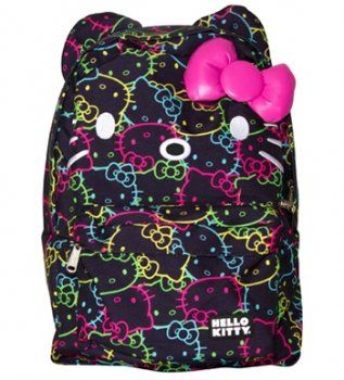 Amazon.com: Hello Kitty Bright Neon All Over Print Backpack by Loungefly: Clothing