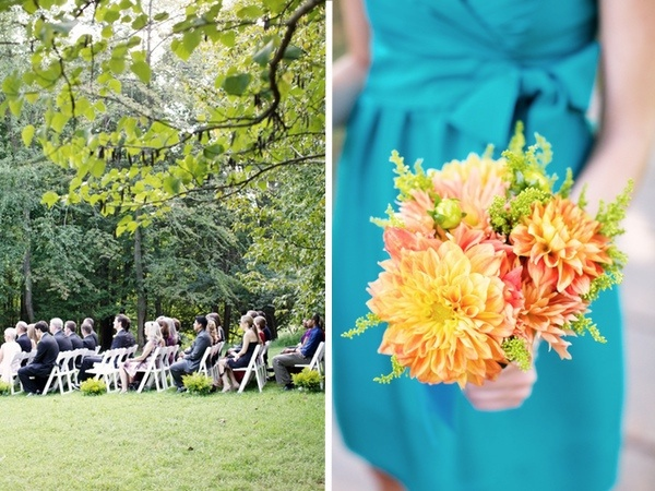 Orange and yellow zinnia bridesmaid bouquet by Amaryllis paired with turquoise bridesmaid dress/Emily Johnston Anderson