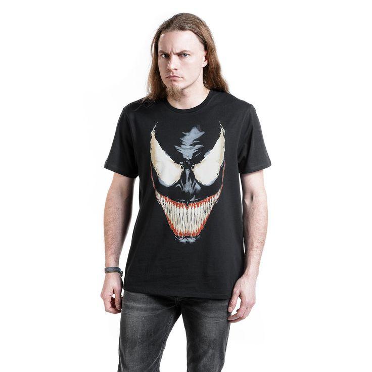 """Classica T-Shirt uomo nera """"Venom"""" della #Marvel con ampia stampa frontale."""