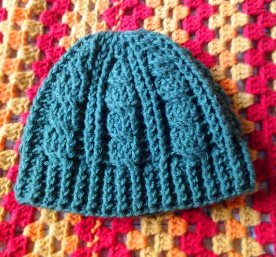 Crochet Cable Stitch Hat (Green)