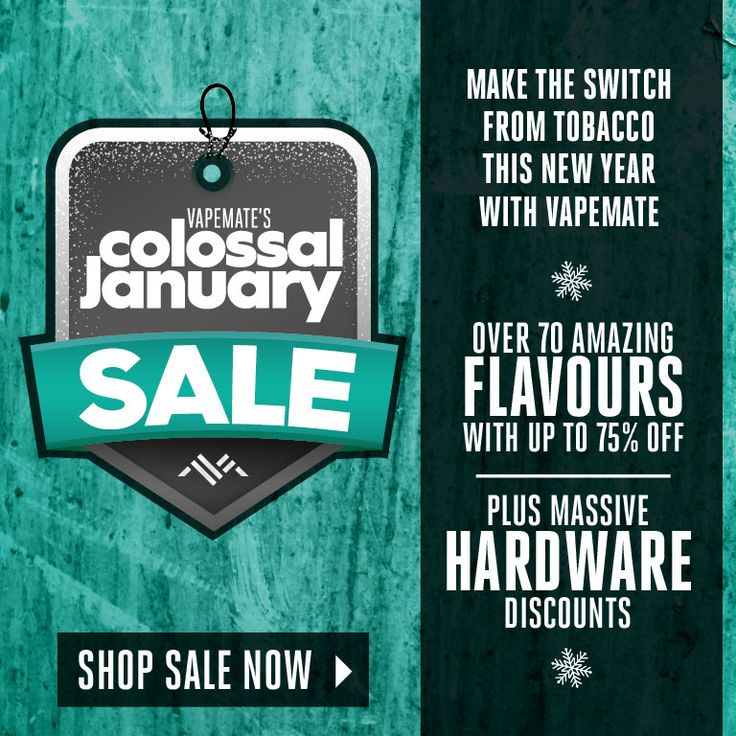 Vapemate's Colossal January Sale! Massive hardware discounts & over 70 flavours @ up to 70% off. https://www.vapemate.co.uk/eliquid/eliquid-clearance.html #vape #vaper #vaping #ukvapers #ukvape #vapeuk #vapelife #ecig #eliquid #cigarettes #quitsmoking #smokingfacts #vapeon #vaperevolution #vapenation #vapestagram #vapefriends #vapefam #ecigarettes #vapejuice #vaperazzi #vapelove #vapecommunity