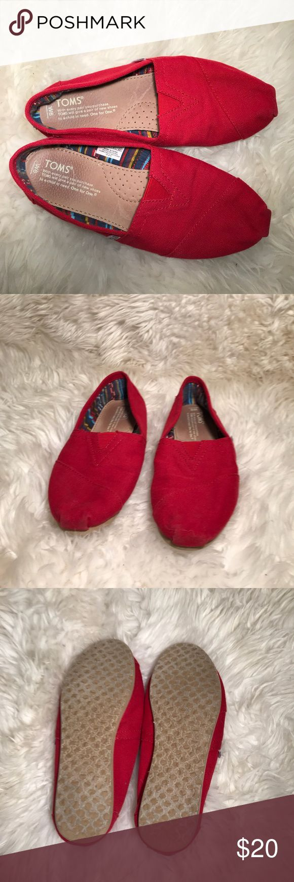 red toms only worn a few times, excellent condition! willing to bargain! Toms Shoes
