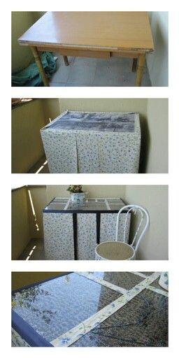 tavolo ricoperto con lavanda, vetro e pasta per vetro per decorare