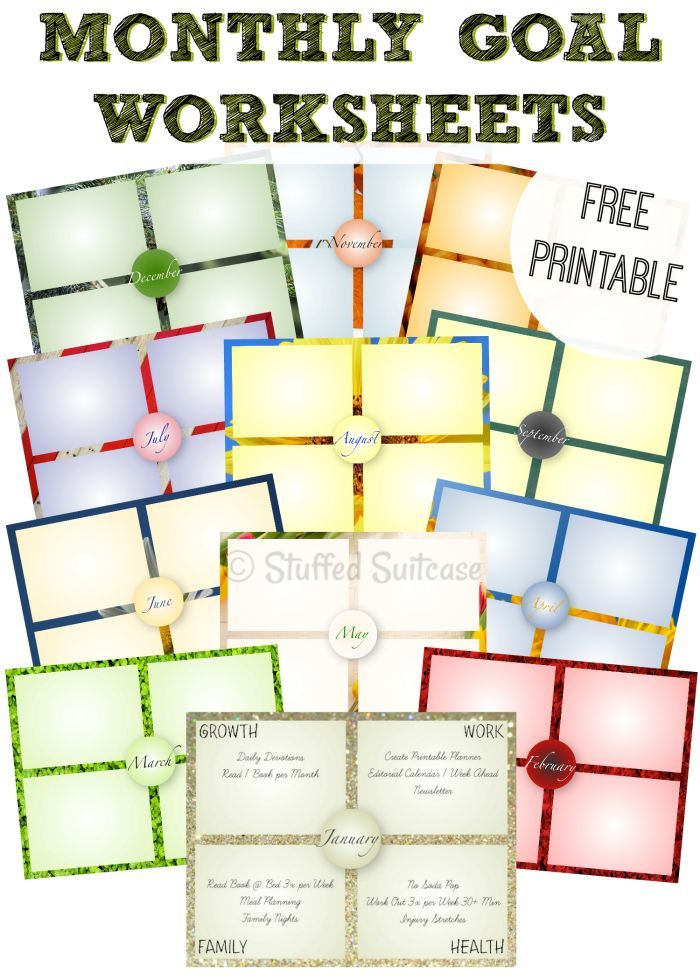 One Year of Monthly Goal Setting Worksheet Printables ...