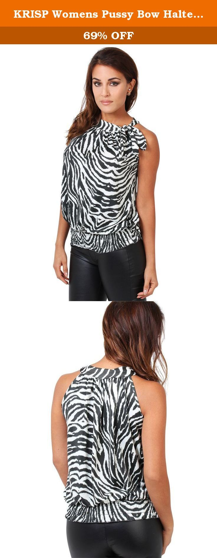 "KRISP Womens Pussy Bow Halter Neck Top Blouse (7251-ZBR-10). Animal Print Halter Neck Blouse 7251 Wild animal patterns add spice to winter season. Cut from a slinky jersey and completed with an overall baggy look, this self tie halter neck top works both, day and evening look. Main Features: • Model wears US size 4/EU 36; Model's height 165cm/5'5"" • Length from shoulder 23""/58.5cm • SizeSizes have already been converted from UK to US (e.g. UK 8 - US 4) Please choose your US size from the..."