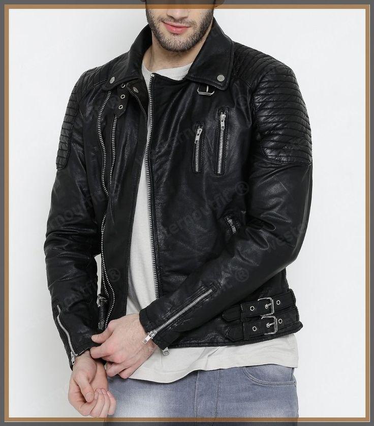 Men's Celebrity Genuine Lambskin Mens Stylish Rider Jacket slim fit Biker A50 #AriesLeathers #Motorcycle
