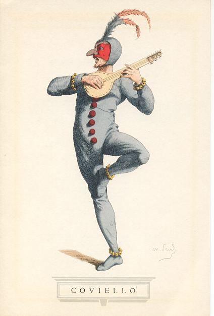 COVIELLO Molto popolari furono nell'antica Roma i canti fescennini, satire accompagnate da danze grottesche, nelle quali, in chiave di una primitiva licenziosità, si chiamavano le cose col loro nome. Alla memoria di quei canti si rifecero i primi comici dell'arte, riesumando talune figure di personaggi che divennero famosi in tutta Europa, ma il cui ricordo fu più tardi oscurato dall'affermazione delle più celebri maschere.