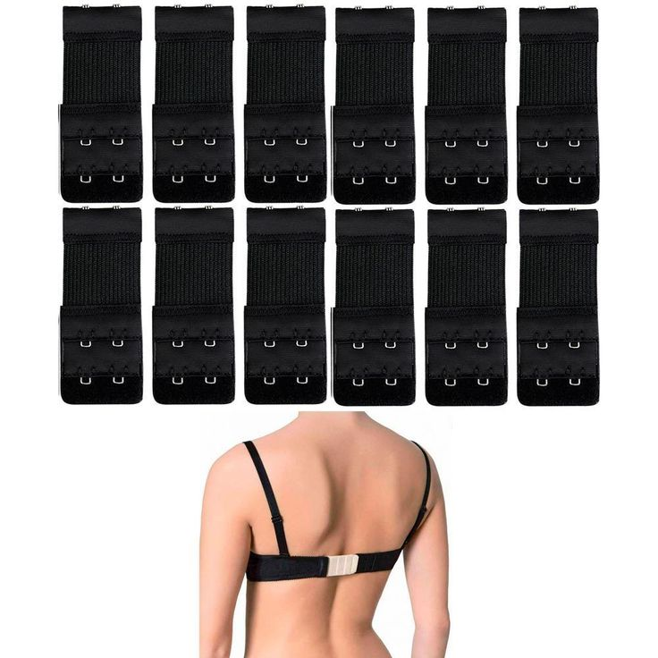 12Pcs Black Bra Strap Extender Clasp Hook Low Back Backless Converter Adjustable