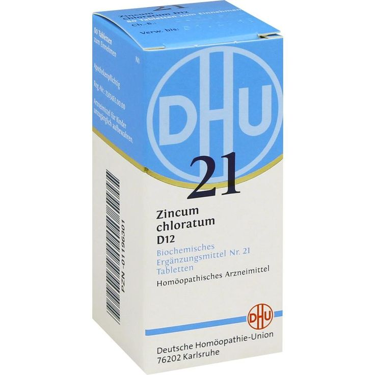 BIOCHEMIE DHU Schüssler Salz 21 Zincum chloratum D12 Tabletten:   Packungsinhalt: 80 St Tabletten PZN: 01196301 Hersteller:…