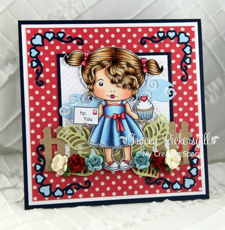 From our Design Team! Card by Tracey Pickersgill featuring Heart Cupcake Marci and these Dies - Heart ribbon corner, Open leaf flourish, Picket fence :-) Shop for our products here - http://lalalandcrafts.com Coloring details and more Design Team inspiration here - http://lalalandcrafts.blogspot.ie/2014/07/inspiration-friday-be-inspired.html