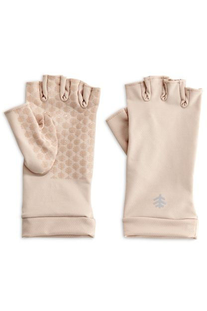 Shop wide assortment of UPF 50+ sun gloves. Fingerless sun gloves with silicone print grippers on palms and fingers for dexterity. Shield your hands from sun.