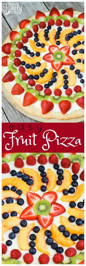 Sugar cookie crust, cream cheese, and fresh fruit - what could possibly be better? This Easy Fruit Pizza is a must try this summer! via @favfamilyrecipz