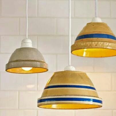 Old ceramic bowls as pendent lights