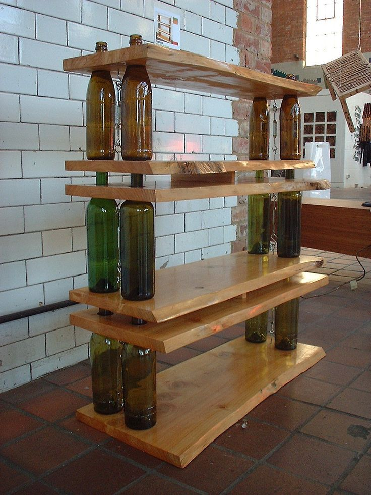 With some specially cut boards, it's possible to make a one-of-a-kind wine shelf.