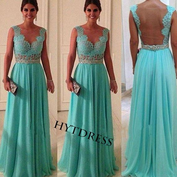 Long Turquoise Lace Prom Dresses With Beaded Sash by hytdress, $149.00