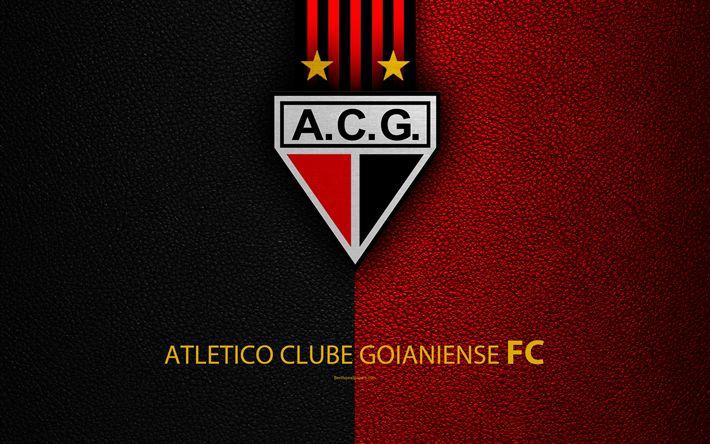 Download wallpapers Atletico Clube Goianiense, FC, 4K, Brazilian football club, Brazilian Serie A, leather texture, Goianiense emblem, badge, logo, Goiania, Goias, Brazil, football