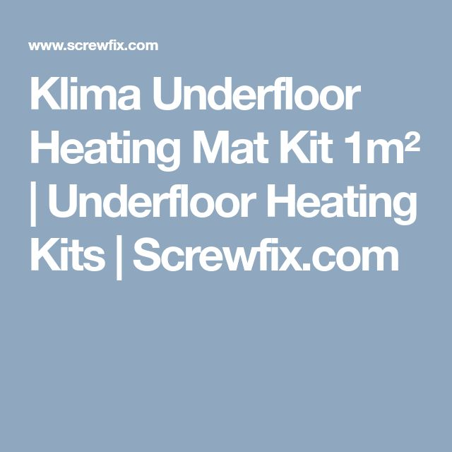 Klima Underfloor Heating Mat Kit 1m² | Underfloor Heating Kits | Screwfix.com