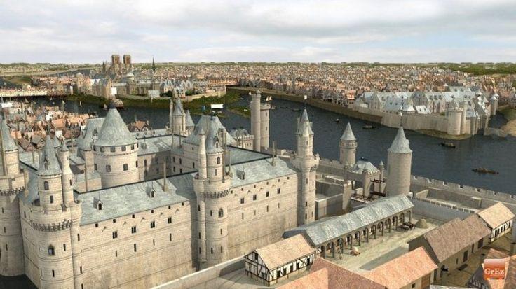 Le Château du Louvre protégeait la ville à l'ouest, fermant le passage de la Seine avec la Tour de Nesle (aujourd'hui disparue) sur la rive gauche. Les habitués du Paris contemporain remarqueront l'absence du Pont des Arts.  Des images de Paris au Moyen Age