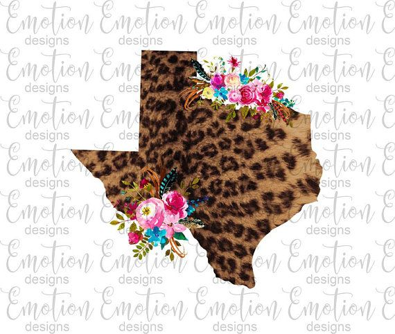 Texas State Png Instant Download Leopard Print Flowers