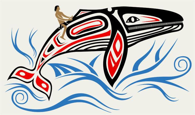 Coastal Native American whale Symbols | This is not an image of the sail boat that the image is going on, this ...