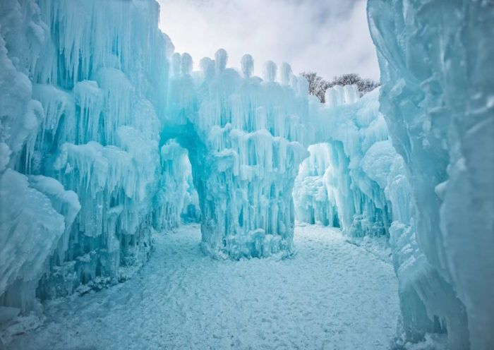 Instead, the castle is a free-flowing mass of unsculpted ice, complete with beautiful natural archways.