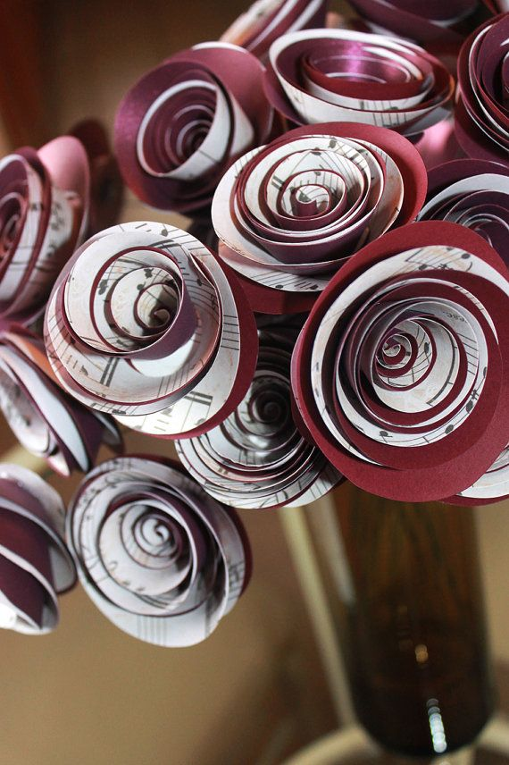 Music Note Spiral Paper Roses Stemmed - Shimmer Plum - Wedding - Centerpiece  - Thank You Notes - Bridal Party - Party -